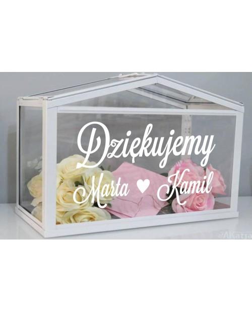 Naklejka ślubna Dziękujemy + imiona