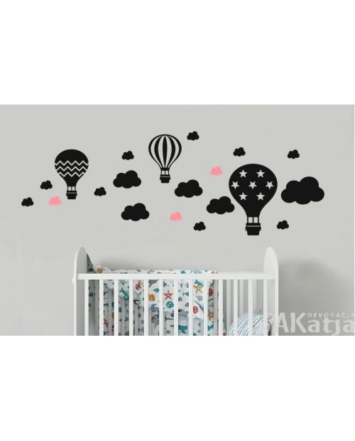 Balony w gwiazdki zygzaki i paski z chmurkami