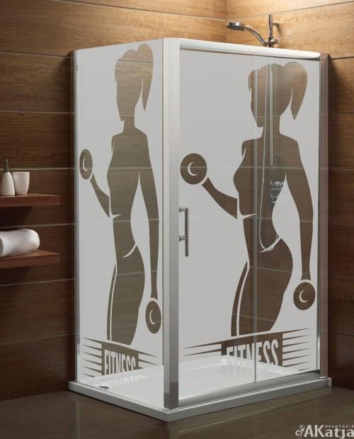 Naklejka mrożone szkło: fitness