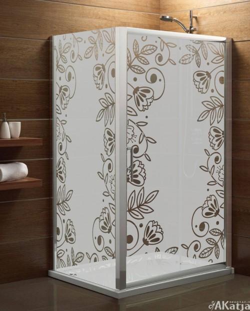 Naklejka mrożone szkło: ramka kwiaty