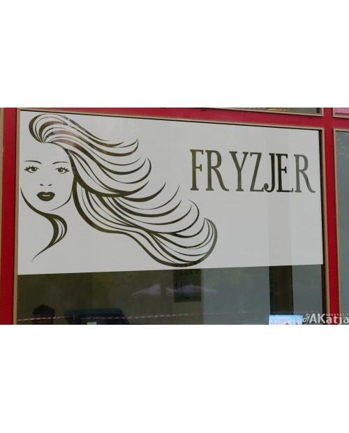 Maskująca naklejka mrożone szkło: Fryzjer
