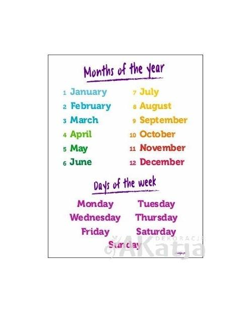 Miesiące i dni tygodnia po angielsku - plansza z zawieszką