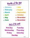 Angielskie miesiące i dni tygodnia - plansza z zawieszką