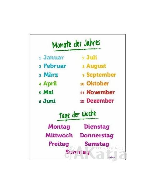 Miesiące i dni tygodnia po niemiecku - plansza z zawieszką