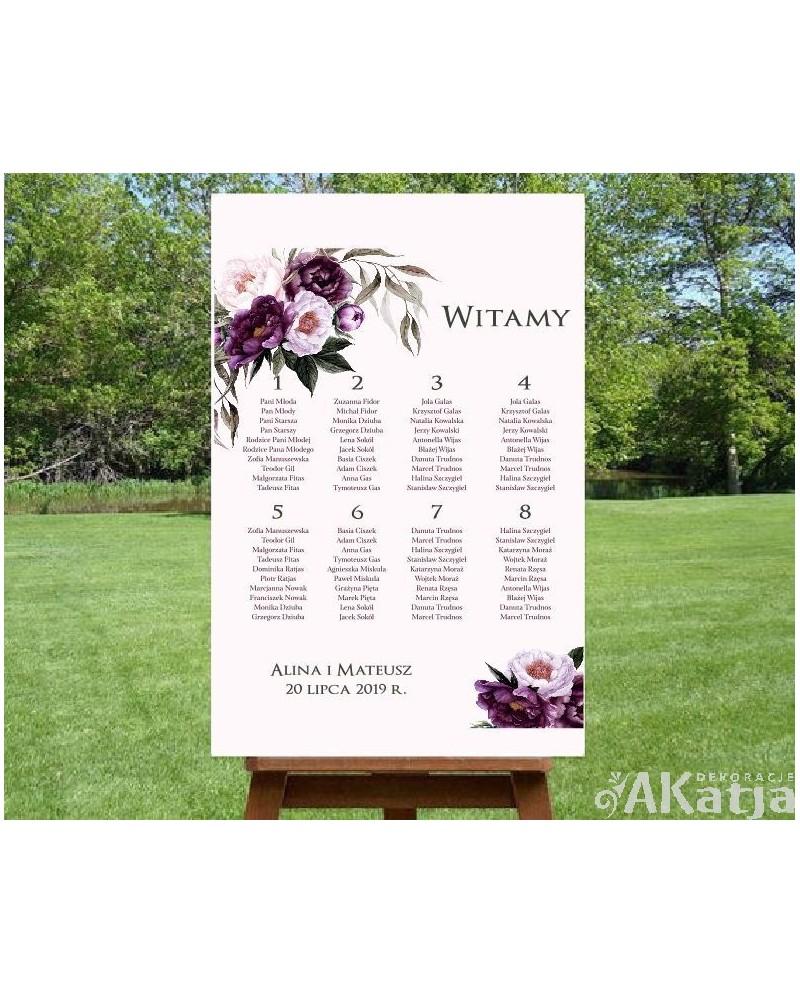 Plan Stołów Burgundowe Kwiaty