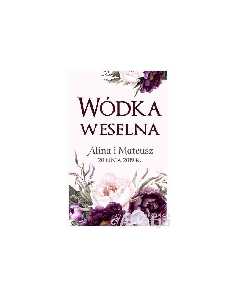 Etykieta na Alkohol Weselny -  Burgundowy Bukiet