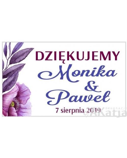 Mini Etykiety z Podziękowaniem -  Fioletowe Maki