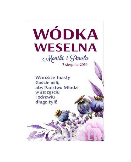 Etykieta na Alkohol Weselny -  Fioletowe Maki