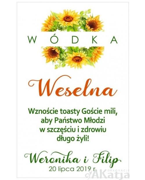 Etykieta na Alkohol Weselny -  Słoneczniki