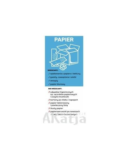Naklejka na kosz do segregacji śmieci papier 10,5x22,5cm