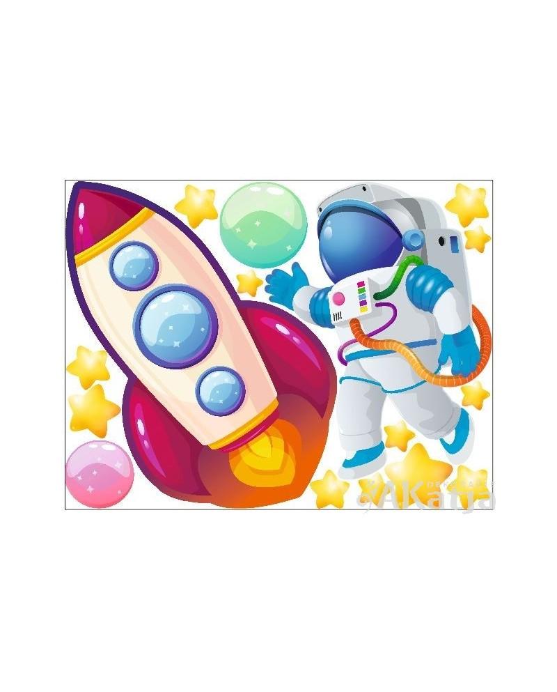 Bajkowy Kosmonauta i Rakieta na ścianę