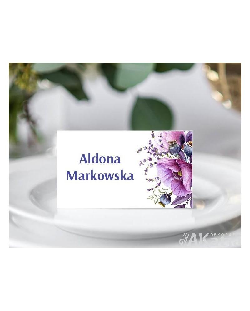 Winietki Ślubne -  Fioletowe Maki