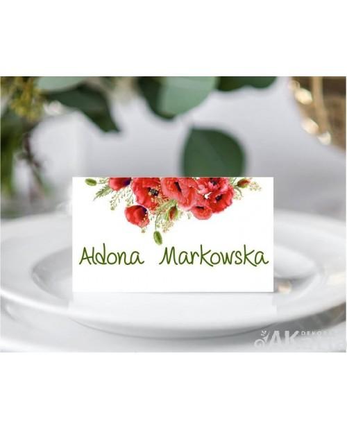 Winietki Ślubne - Czerwone Maki