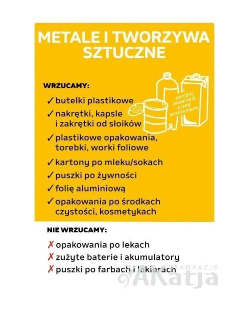 Naklejka na kosz do segregacji śmieci METALE I TWORZYWA SZTUCZNE A4