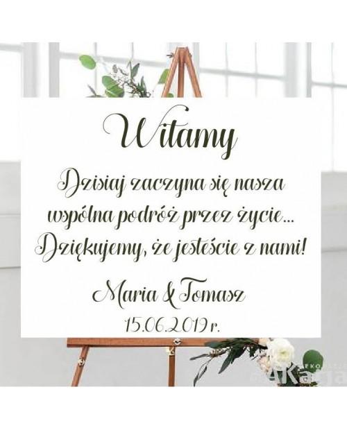 Naklejka ślubna Witamy + tekst