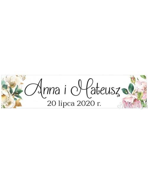 Ślubna Tablica Rejestracyjna - Białe Kwiaty 2 sztuki