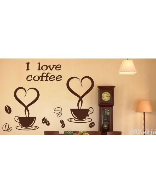Dwie filiżanki kawy z napisem i love coffee