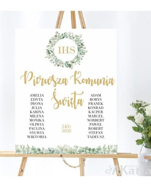 Plansza komunijna listki z imionami dzieci