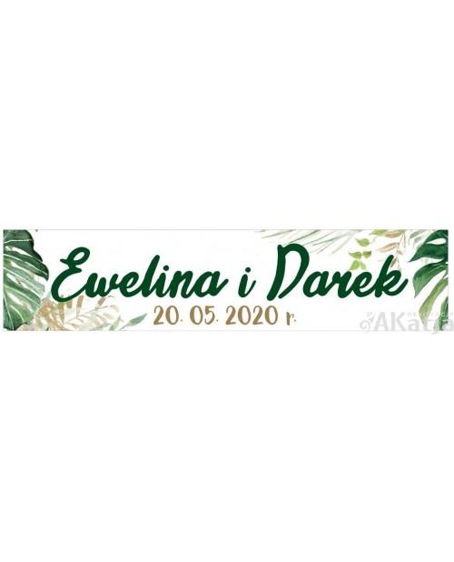 Ślubna Tablica Rejestracyjna - Zielone Liście 2 sztuki