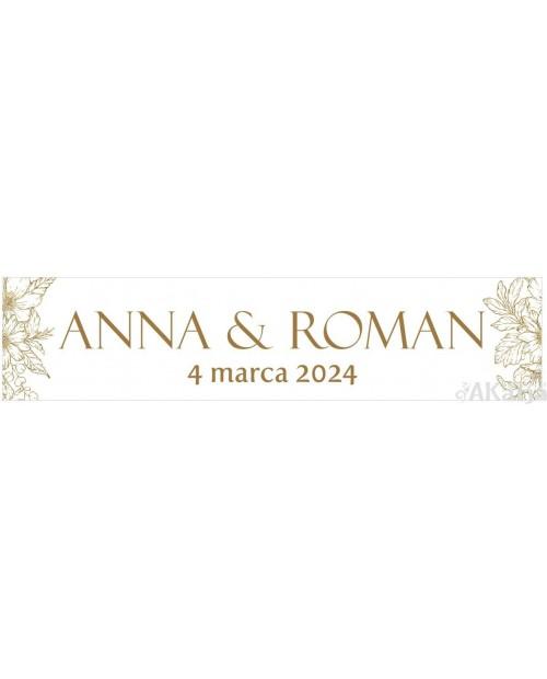 Ślubna Tablica Rejestracyjna - Złoty Glamour 2 sztuki