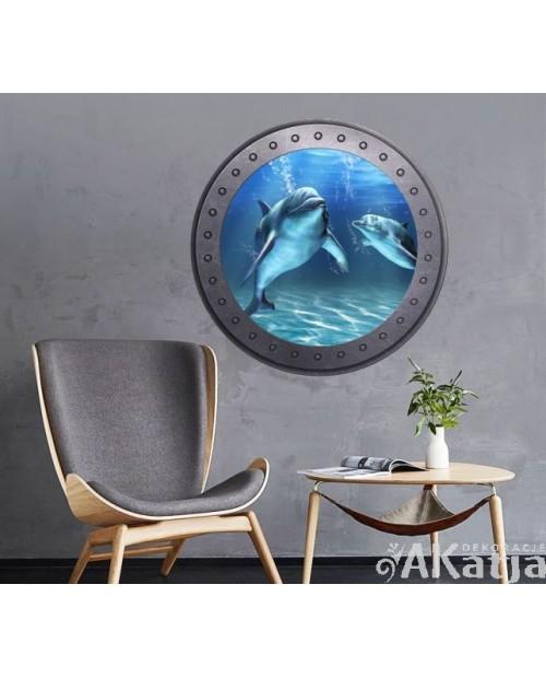 Naklejka okno z delfinami