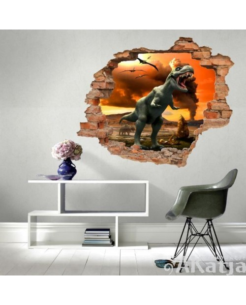 Naklejka dziura z dinozaurami