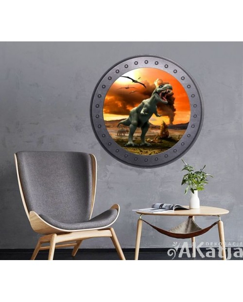 Naklejka okrągłe okno z dinozaurami