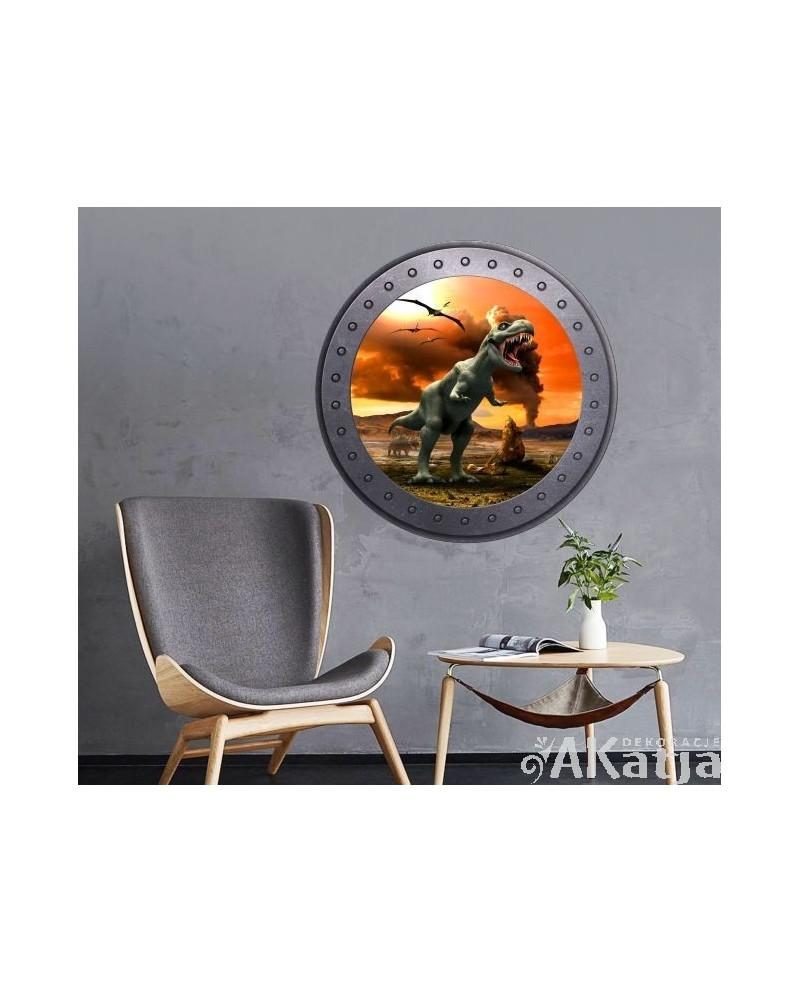 Naklejka okno z dinozaurami
