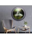 Naklejka okrągłe okno z jednorożcami