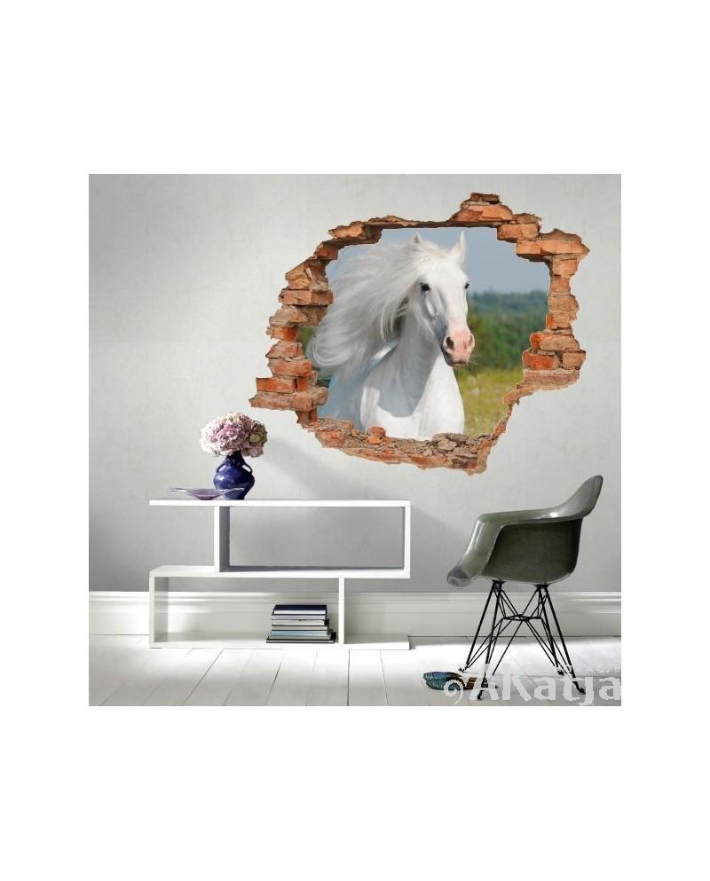 Naklejka dziura z białym koniem