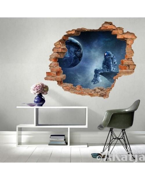 Naklejka dziura z kosmonaut