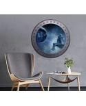 Naklejka okrągłe okno z kosmonautą