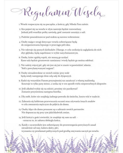 Regulamin Wesela - Lawenda