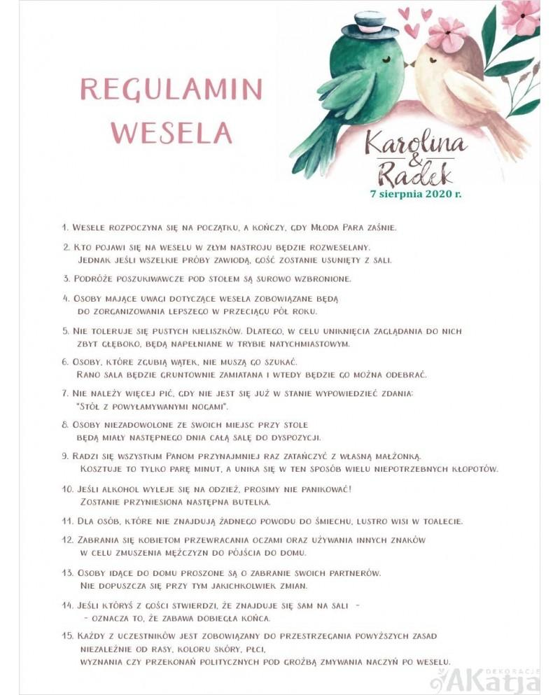 Regulamin Wesela - Ptaszki