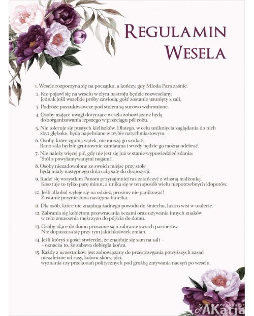 Regulamin Wesela - Burgundowy Bukiet