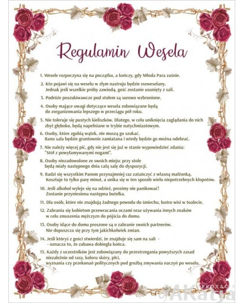 Regulamin Wesela - Czerwone Róże