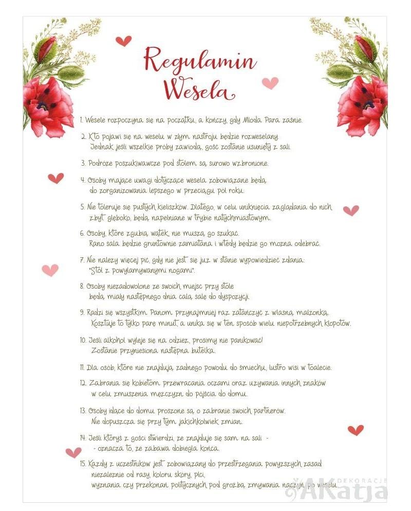 Regulamin Wesela - Czerwone Maki