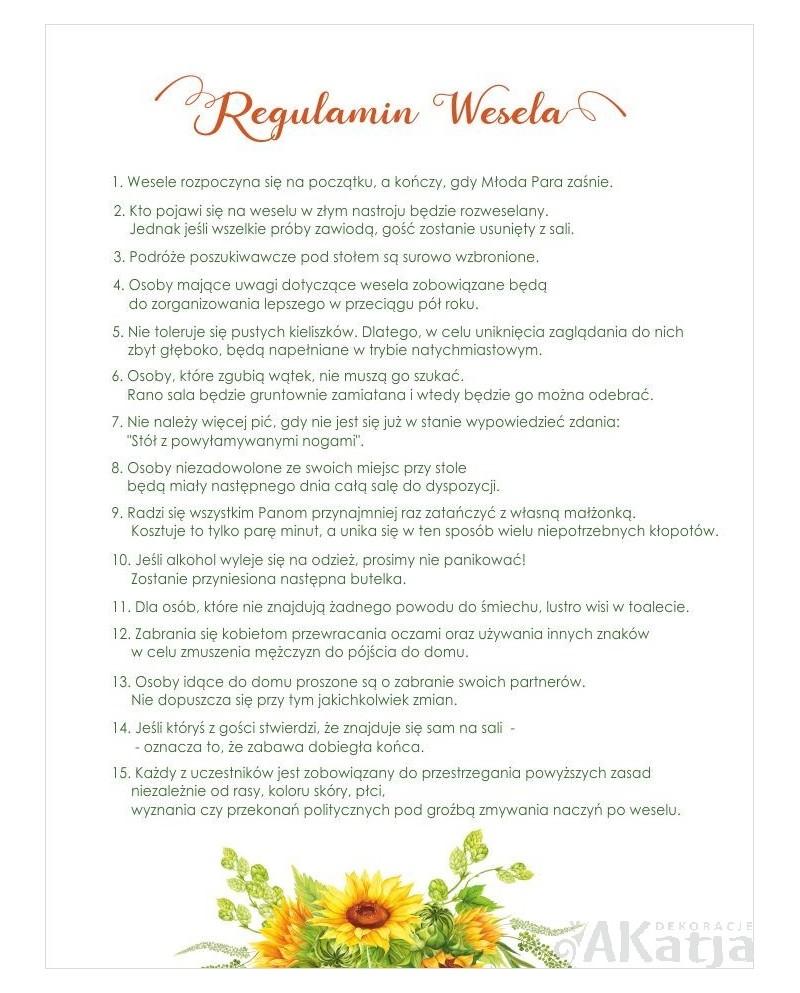 Regulamin Wesela - Słoneczniki