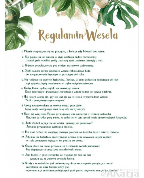Regulamin Wesela - Zielone Liście