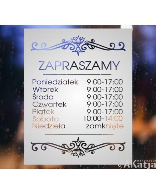 Maskująca naklejka mrożone szkło: Godziny otwarcia Ornament