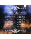 Naklejka mrożone szkło: Godziny otwarcia Ornament