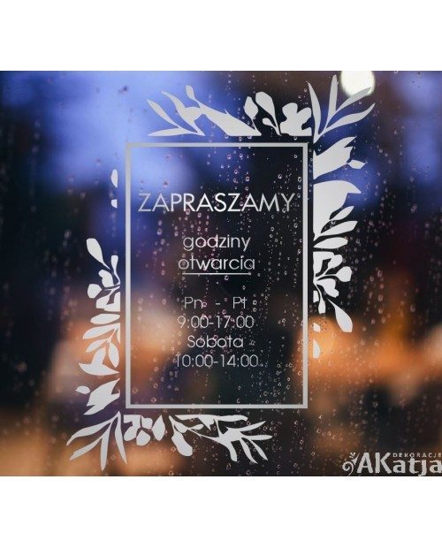 Naklejka mrożone szkło: Godziny otwarcia Gałązki