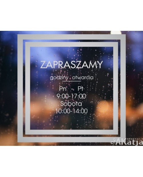 Naklejka mrożone szkło: Godziny otwarcia Kwadrat