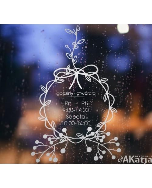Naklejka mrożone szkło: Godziny otwarcia Wianuszek