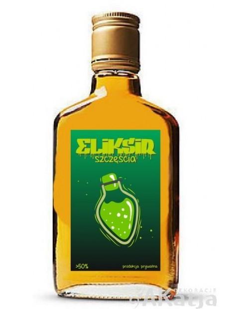 Eliksir szczęścia - zielone etykiety na alkohol