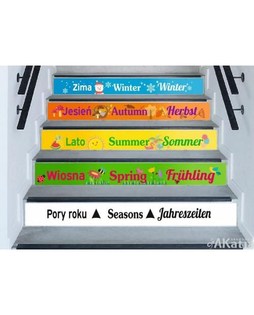 Pory roku w trzech językach - naklejki na schody