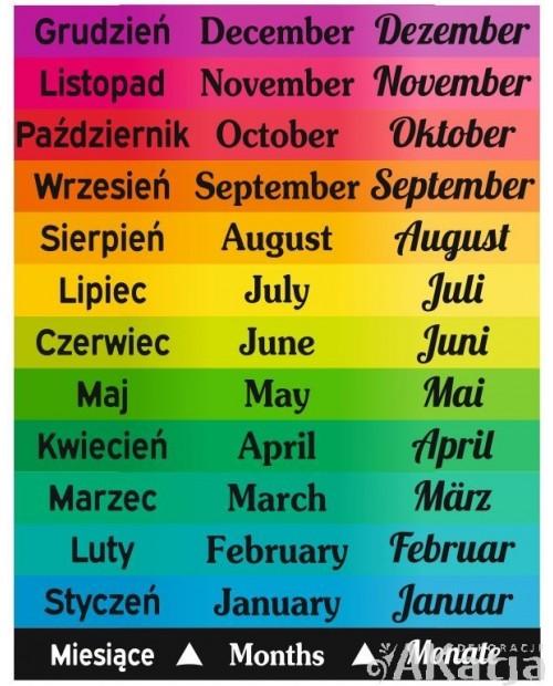 Miesiące w trzech językach - naklejki na schody