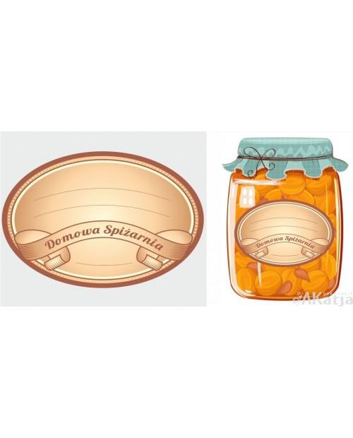Etykiety Domowa Spiżarnia beżowe owalne