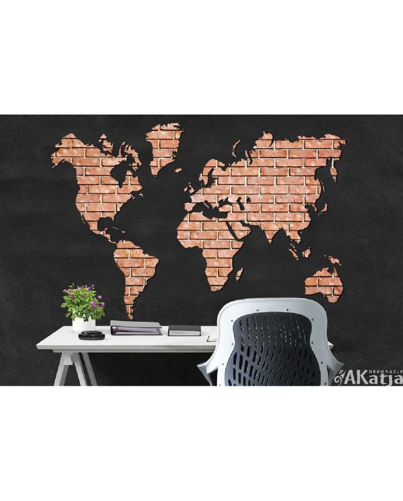 Mapa Świata z cegły - naklejka na ścianę