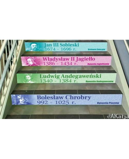 Poczet Królów Polskich- Władcy Polski -zestaw naklejek na schody